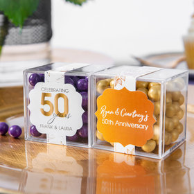 Personalized 50th Anniversary JUST CANDY® favor cube with Sixlets Chocolate