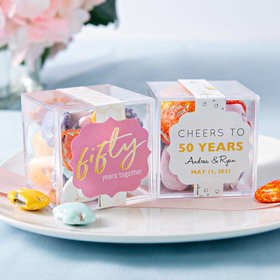 Personalized 50th Anniversary JUST CANDY® favor cube with Premium Milk Chocolate Candy Sea Shells