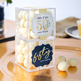 Personalized 50th Anniversary JUST CANDY® favor cube with Premium Sugar Cookie Bites