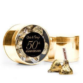 Personalized 50th Anniversary Favor Assembled Medium Round Plastic Tin Filled with Hershey's Kisses