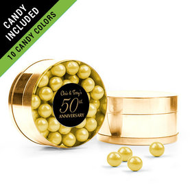 Personalized 50th Anniversary Favor Assembled Small Round Plastic Tin Filled with Sixlets