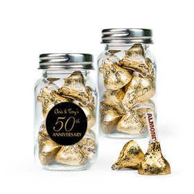 Personalized 50th Anniversary Favor Assembled Mini Mason Jar Filled with Hershey's Kisses