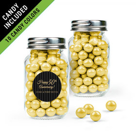 Personalized 50th Anniversary Favor Assembled Mini Mason Jar Filled with Sixlets