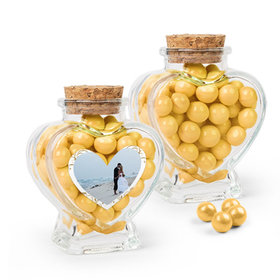 Personalized 50th Anniversary Favor Assembled Heart Jar Filled with Sixlets