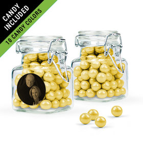 Personalized 50th Anniversary Favor Assembled Swing Top Square Jar Filled with Sixlets