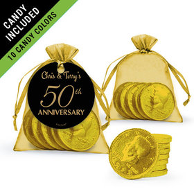 Personalized 50th Anniversary Favor Assembled Gift tag, Organza Bag Filled with Milk Chocolate Coins