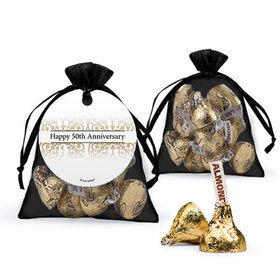 Personalized 50th Anniversary Favor Assembled Organza Bag Filled with Hershey's Kisses