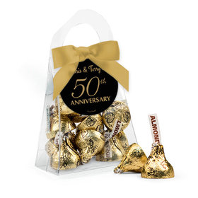 Personalized 50th Anniversary Favor Assembled Purse Filled with Hershey's Kisses