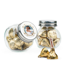 Personalized 50th Anniversary Favor Assembled Mini Side Jar Filled with Hershey's Kisses