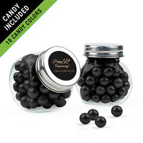Personalized 50th Anniversary Favor Assembled Mini Side Jar Filled with Sixlets
