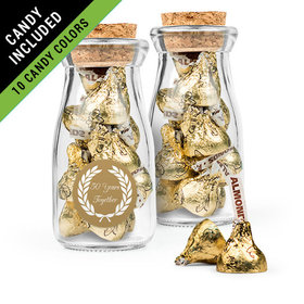 Personalized 50th Anniversary Favor Assembled Glass Bottle with Cork Top Filled with Hershey's Kisses