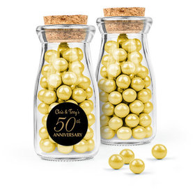 Personalized 50th Anniversary Favor Assembled Glass Bottle with Cork Top Filled with Sixlets