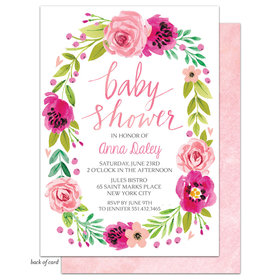 Bonnie Marcus Collection Personalized Watercolor Blossom Wreath Invitation