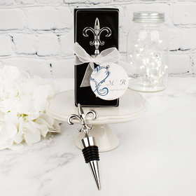 Personalized Wedding Fleur de-lis Bottle Stopper