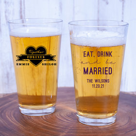Personalized Wedding 16oz Pint Glass