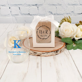 Personalized Wedding 9oz Stemless Wine Glass with White Gift Box