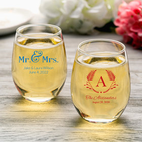 Personalized Wedding 9oz Stemless Wine Glass
