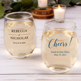 Personalized Wedding 15oz Stemless Wine Glass