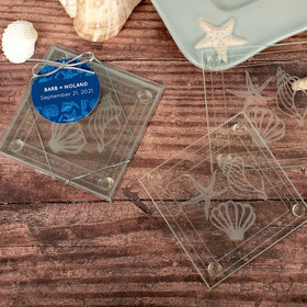Personalized Wedding Glass Coaster- Beach Shells
