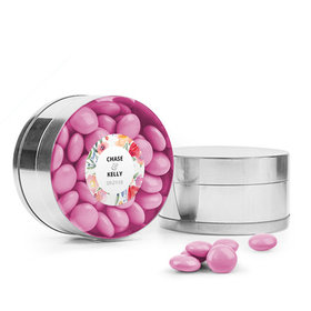 Personalized Wedding Favor Assembled Small Round Plastic Tin Filled with Just Candy Milk Chocolate Minis
