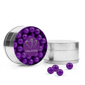 Personalized Wedding Favor Assembled Small Round Plastic Tin Filled with Sixlets