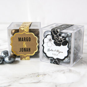Personalized Wedding JUST CANDY® favor cube with Premium Almond Jewels