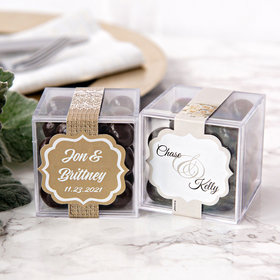 Personalized Wedding JUST CANDY® favor cube with Premium Barrel Aged Bourbon Cordials - Dark Chocolate