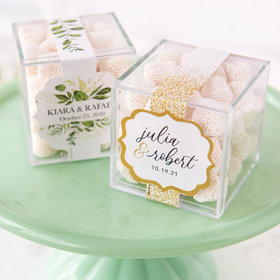Personalized Wedding JUST CANDY® favor cube with Jelly Belly Gumdrops