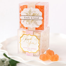 Personalized Wedding JUST CANDY® favor cube with Gummy Bears