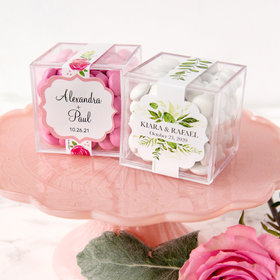Personalized Wedding JUST CANDY® favor cube with Just Candy Milk Chocolate Minis