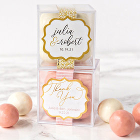 Personalized Wedding JUST CANDY® favor cube with Premium Malted Milk Balls