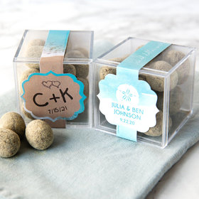 Personalized Wedding JUST CANDY® favor cube with Premium Marshmallow S'mores - Milk Chocolate
