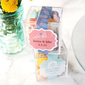 Personalized Wedding JUST CANDY® favor cube with Premium Milk Chocolate Candy Sea Shells