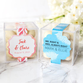 Personalized Wedding JUST CANDY® favor cube with Premium Sugar Cookie Bites