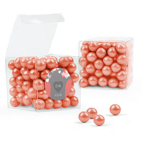 Personalized Wedding Favor Assembled Clear Box Filled with Sixlets