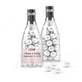 Personalized Wedding Favor Assembled Champagne Bottle Filled with Sixlets
