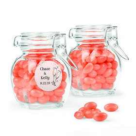Personalized Wedding Favor Assembled Swing Top Jar Filled with Just Candy Jelly Beans