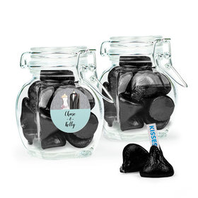 Personalized Wedding Favor Assembled Swing Top Jar Filled with Hershey's Kisses