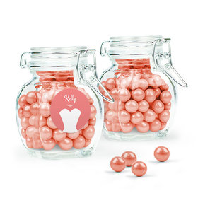 Personalized Wedding Favor Assembled Swing Top Jar Filled with Sixlets