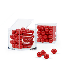 Personalized Wedding Favor Assembled Cube Filled with Sixlets