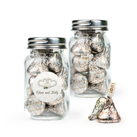 Personalized Wedding Favor Assembled Mini Mason Jar Filled with Hershey's Kisses