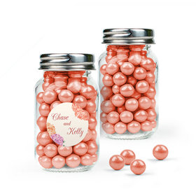 Personalized Wedding Favor Assembled Mini Mason Jar Filled with Sixlets