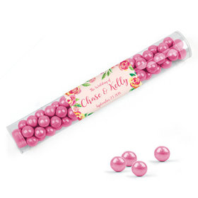 Personalized Wedding Favor Assembled Clear Tube Filled with Sixlets