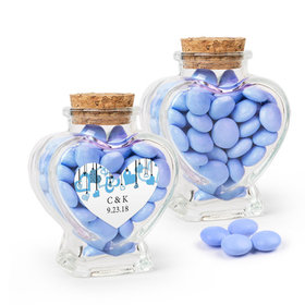 Personalized Wedding Favor Assembled Heart Jar Filled with Just Candy Milk Chocolate Minis