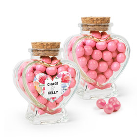 Personalized Wedding Favor Assembled Heart Jar Filled with Sixlets