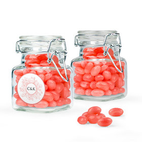 Personalized Wedding Favor Assembled Swing Top Square Jar Filled with Just Candy Jelly Beans