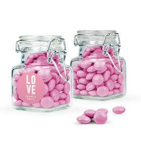 Personalized Wedding Favor Assembled Swing Top Square Jar Filled with Just Candy Milk Chocolate Minis