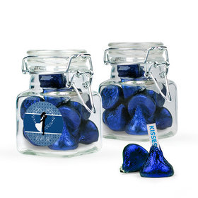 Personalized Wedding Favor Assembled Swing Top Square Jar Filled with Hershey's Kisses