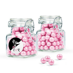 Personalized Wedding Favor Assembled Swing Top Square Jar Filled with Sixlets