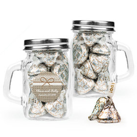 Personalized Wedding Favor Assembled Mini Mason Mug Filled with Hershey's Kisses